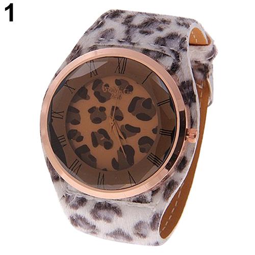 Oversized font b Women s b font Leatheroid Strap Charm Leopard Print Watches Quartz Wrist Watch