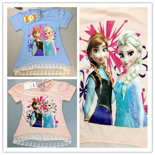 New 2015 Cartoon Kids T shirt 3-8yrs Girls Elsa Anna Princess t-shirts Child Summer Clothes Fashion Brand Girls Clothing(China (Mainland))