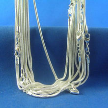 50 Pcs Necklace 1mm Snake Chains 26 inch Fashion Chain Mens Womens 28 inch Sterling Silver 925 Stamp Snake Chains(China (Mainland))