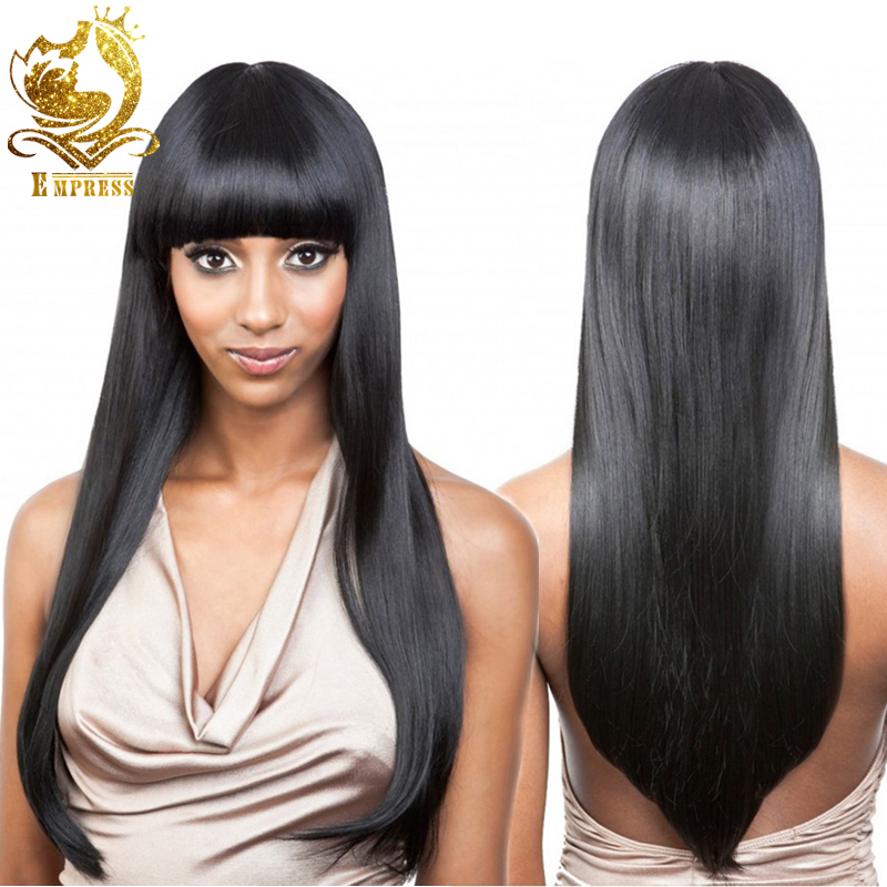 Гаджет  Brazilian Machine Made Non Lace Wig Full Lace Human Hair Wigs With Bangs Lace Front Wig Straight Full Lace Wig For Black Woman None Волосы и аксессуары