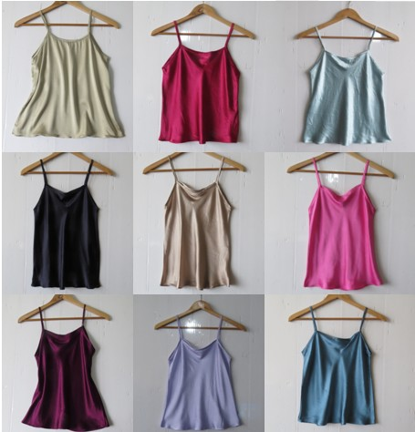 camisole 2014 women's pure silk mulberry silk silks and satins silky breathable basic small vest a001(China (Mainland))