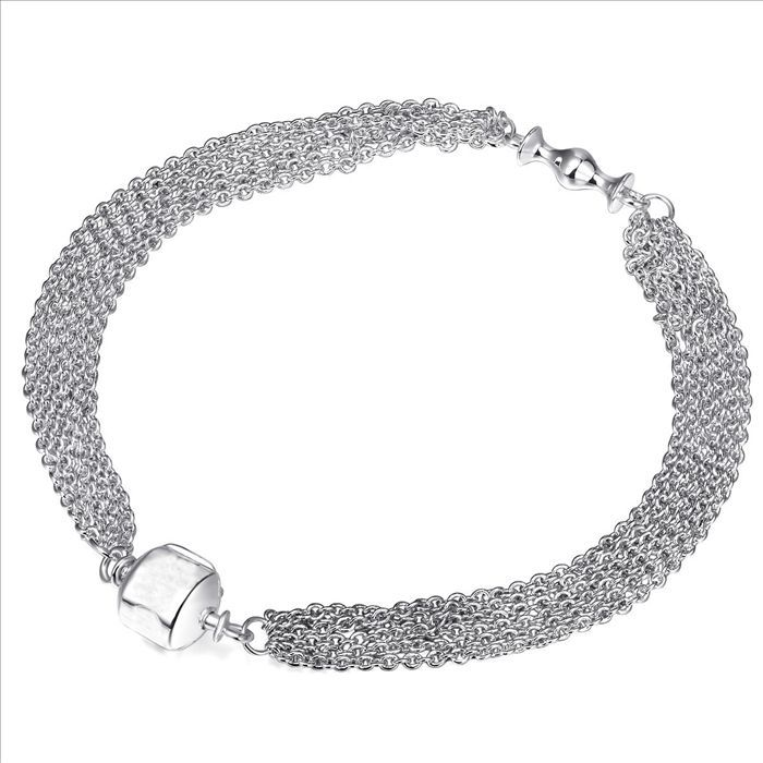 925 Sterling Silver Bracelets Snake Chain Screw Fits European Charms Silver Beads 17-24CM Length DIY Jewelry
