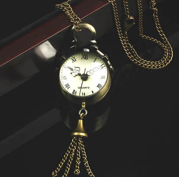New Superb Hot Retro Vintage Bronze Quartz Ball Glass Pocket Watch Necklace Chain Steampunk Free shipping &wholesale Alipower(China (Mainland))