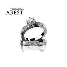 Buy Hottest 925 Sterling Silver Wedding Ring Set Simple Style Fashion Jewelry 1 ct Round Cut NSCD Simulated Women Engagement Rings for $33.31 in AliExpress store