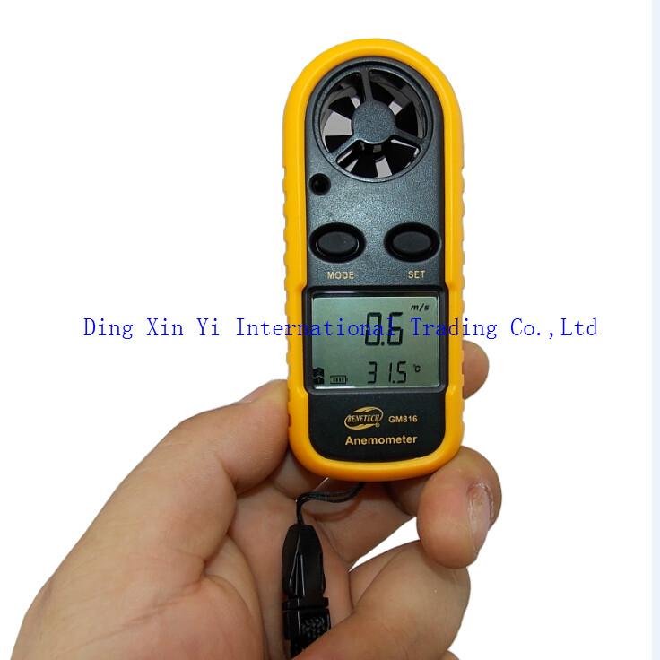 Гаджет  Free Shipping GM816 30m/s (65MPH) LCD Digital Hand-held Wind Speed Gauge Meter Measure Anemometer Thermometer None Инструменты