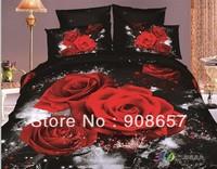 red rose flower black 500TC 3D bed in a bag oil painting bedding set girls cotton quilt/duvet covers full queen comforter set
