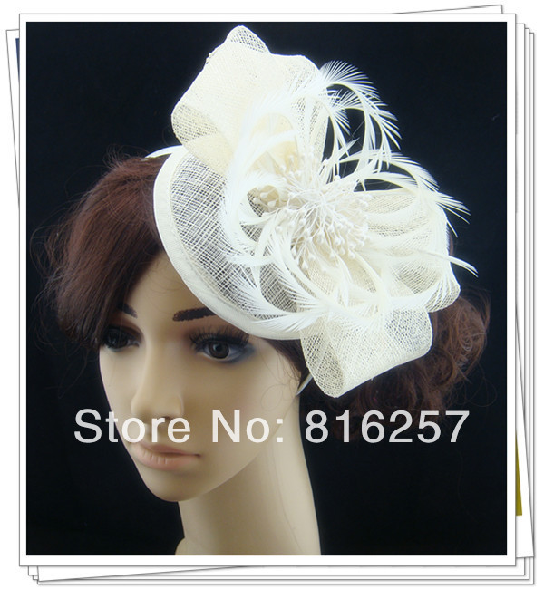 Free shipping high quality fascinators/nice feather hair accessories/ sinamay hats/wedding headwear FS124(China (Mainland))