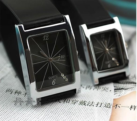 hot sale 2015 Fashion montre femme ladies best gifts Rectangular dial black leather Strap men quartz