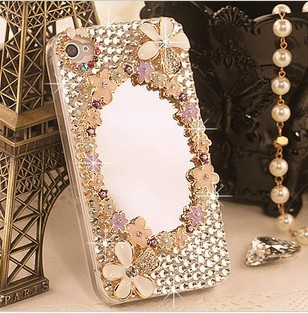 Diamond Mirror case  for iphone 4 4s iphone 5 5s protection Hand back Skin  shell sleeve mobile phone pearl cases new arrial