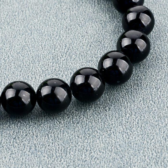 2015 New Fashion 8MM Beaded Black Natural Stone beads Skull Elastic Bracelets for Men and Women