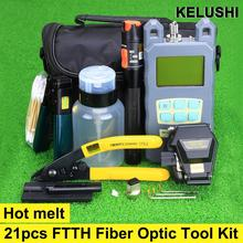 21 1 Fiber Optic FTTH Tool Kit FC-6S Cleaver Optical Power Meter Visual Fault Locator Wire stripper - Tools store