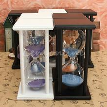Fashion 1 Hour 60 Minutes Hand-Blown Modern Wooden Color Sand Sandglass Hourglass Timer Clock Xmas Toys Birthday Gift Home Decor(China (Mainland))