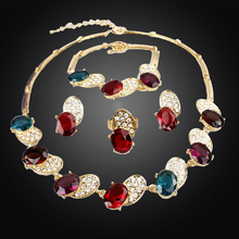New Trendy Bee Shape 18K Gold Plated Austrian Crystal Necklace Bracelet Ring Earrings Jewelry Set For Women Wedding Set(China (Mainland))