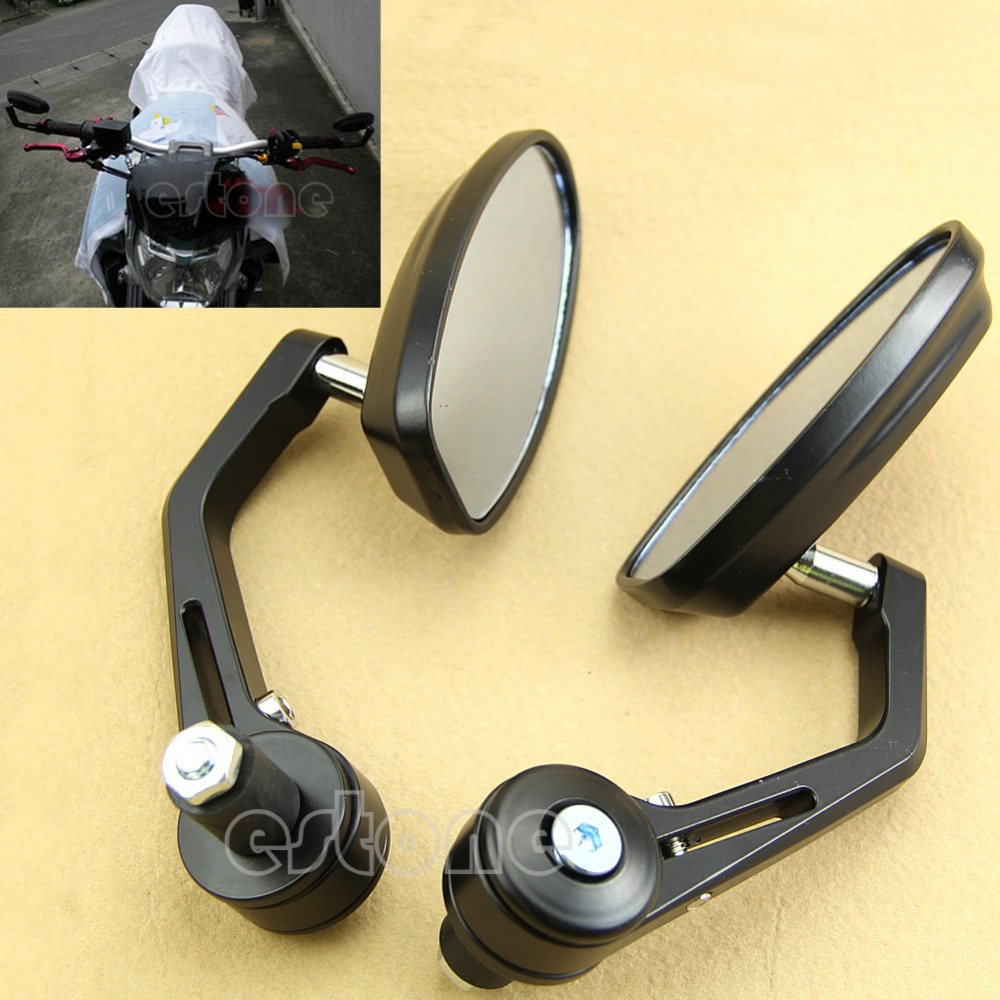 7/8 Aluminum Rear View Side Mirror Black Handle Bar End Oval For Motorcycle New<br><br>Aliexpress