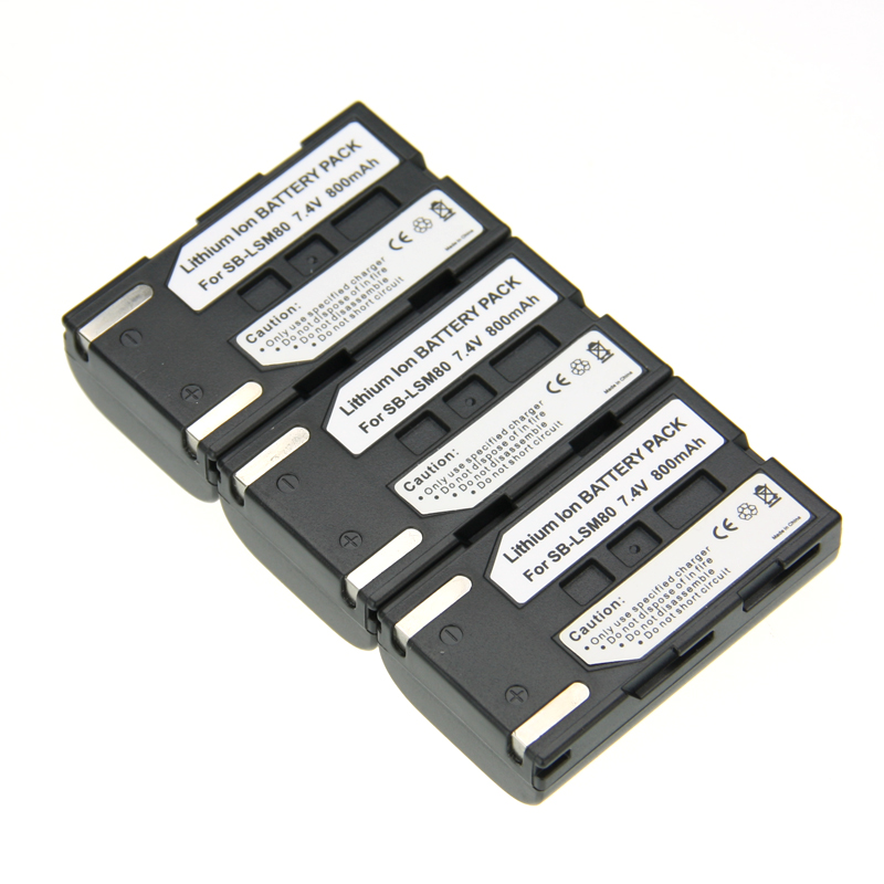 Hot Sale 3pcs SB-LSM80 SB LSM80 SBLSM80 Rechargeable Camera Battery SAMSUNG VP-DC175 VP-DC565 VP-DC575 SC-D357