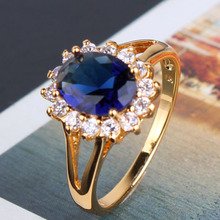 New 24K Gold Plating Finger Rings Sapphire Swiss Cubic Zirconia Band Anniversary Rings For Women Wholesale Free Shipping R028