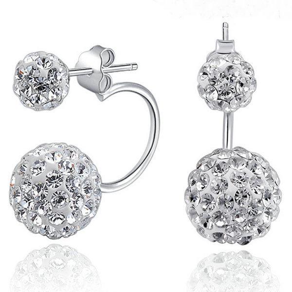 2015 New Design Cheap High Quality 925 sterling silver stud earrings for women Double imitation diamond Ball shamballa earrings(China (Mainland))
