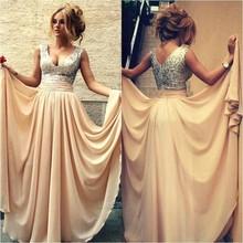 Dressgirl 2017 Cheap Bridesmaid Dresses Under 50 A-line Deep V-neck Champagne Chiffon Sequins Long Wedding Party Dresses(China (Mainland))