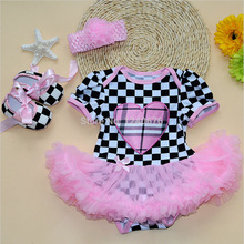 4pcs/lot 2016 baby romper baby girl suits headband 3piece set Infant Clothing Sets;1st Birthday Outfits lovely princess dress(China (Mainland))