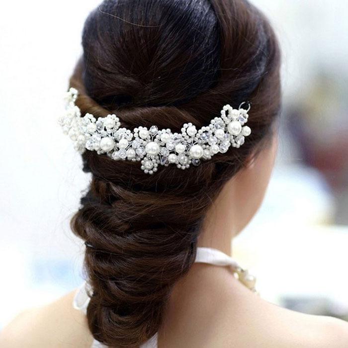 Hot Marketing Gift Han Edition Hair White Pearl Crystal Bride Headdress Handmade Wedding Hairwear Bridal Hair