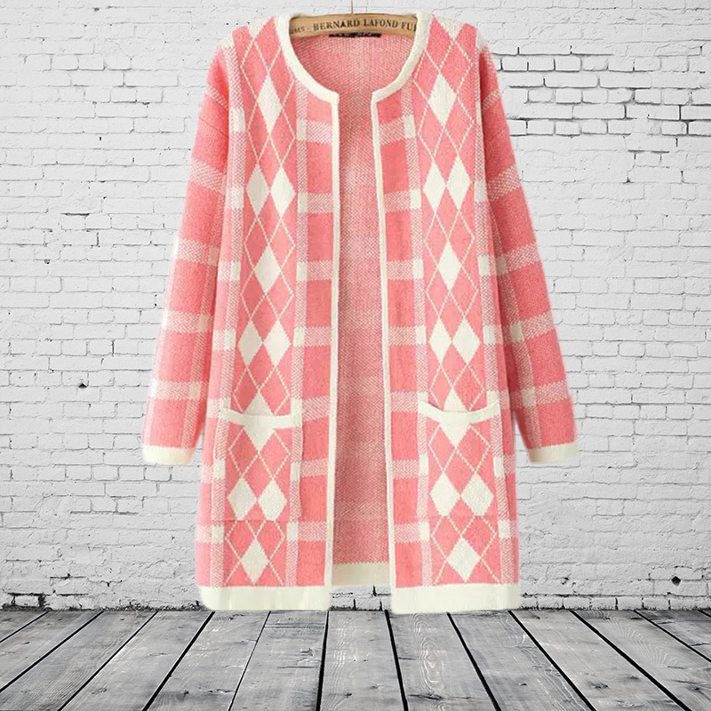 Cardigan Feminino Loose Diamond Lattice Geometry Korean Women's Sweater Cardigan Coat Box Ladies Poncho Women Illusion Blouse (China (Mainland))
