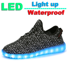 LED Colorful Glowing Yeezy Shoes for Women Neon Light up Shoes for Walking Running Shoes for Men Adult Shoes for Male and Female(China (Mainland))