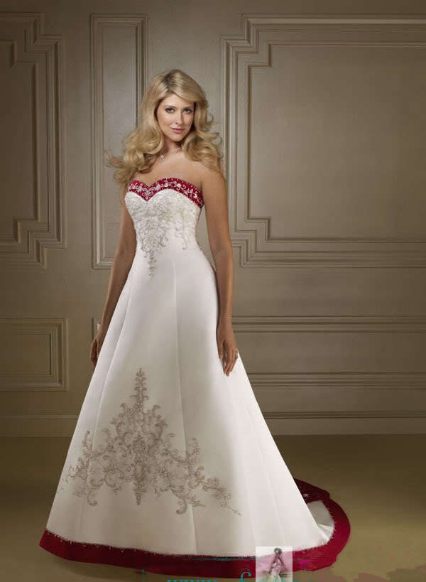 2015 white and red wedding Dress elegant classic Bridal Gown satin Embroider lace-up with court train custom made(China (Mainland))