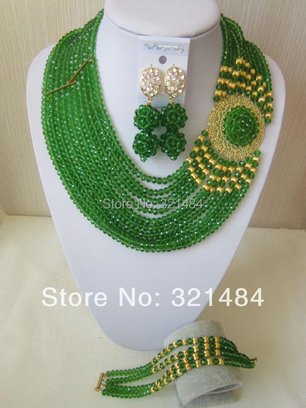 New Fashion Nigerian Wedding African Beads Jewelry Set Emerald Green Crystal Necklace Bracelet Pin Clip Earrings CRB-518<br><br>Aliexpress
