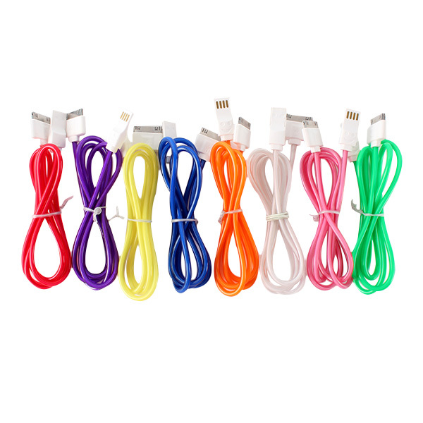 Visible LED Light USB Thin Data Sync Charger Charging Cable For iPhone 4 4S()