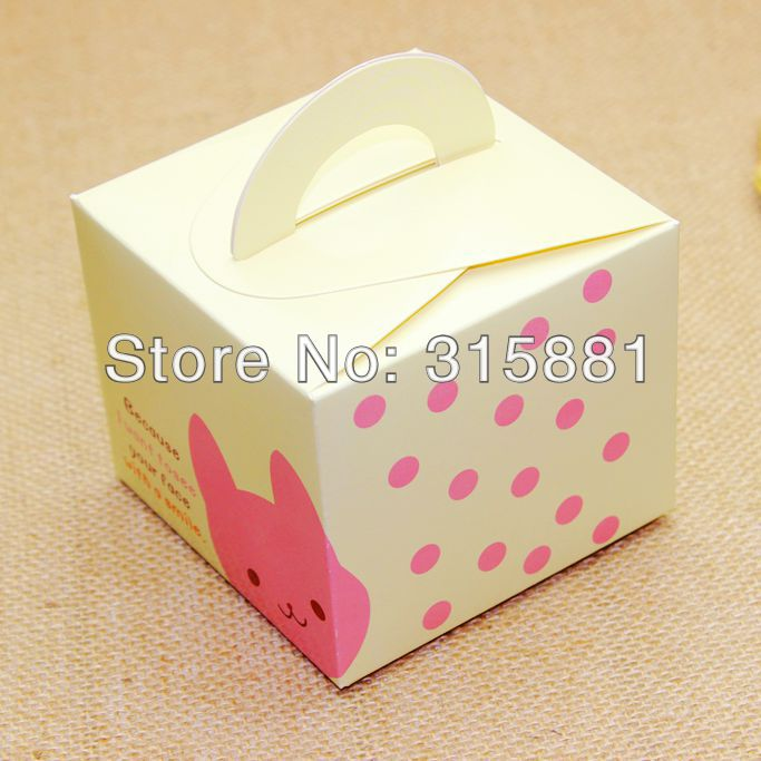 Cute little bunny Bear moon cake gift box cake box cookie box 9.5x9.5x8cm(China (Mainland))