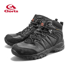 2016 Clorts Men Hiking Boots Black Hunger Game Genuine Leather Outdoor Hiking Shoes Waterproof Sport Sneakers HKM-822D(China (Mainland))