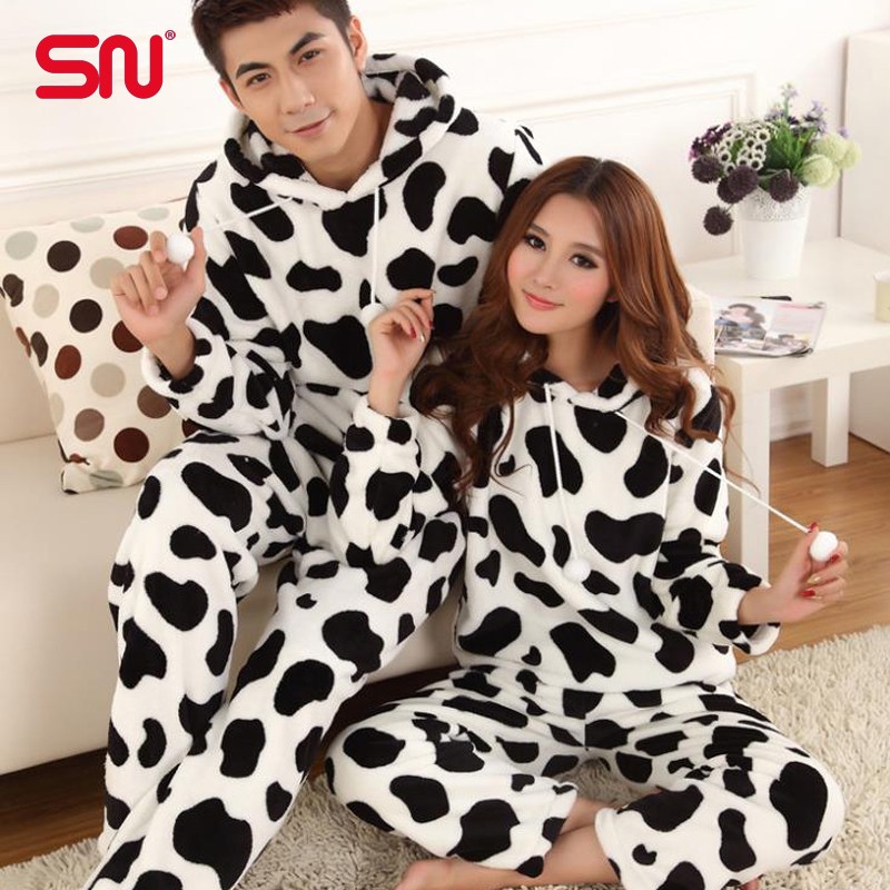 Pajamas women coral velvet cute cow pattern pijamas flannel hooded women home clothing Couple Pajamas sets Size M-XXL YP45Одежда и ак�е��уары<br><br><br>Aliexpress
