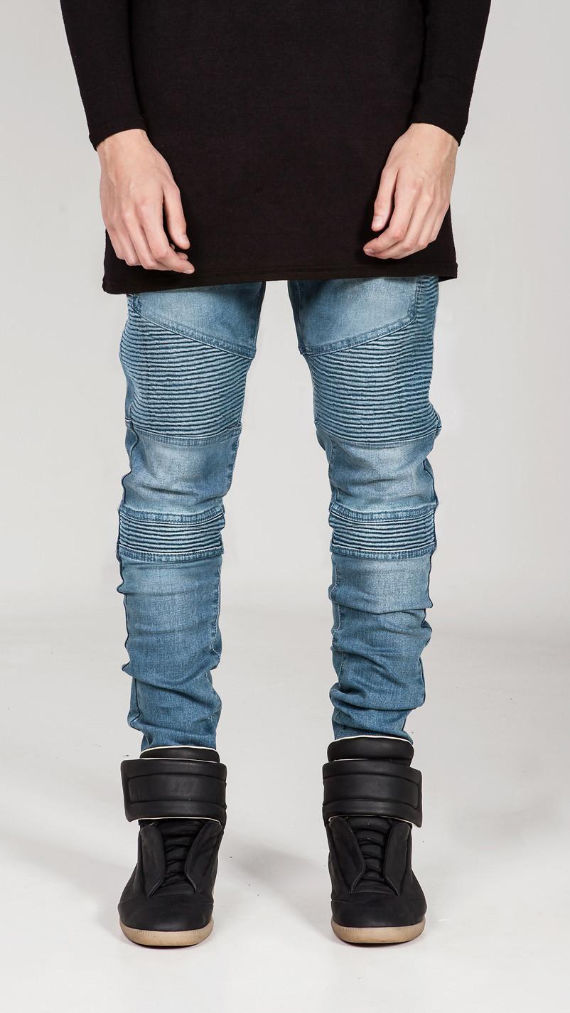 Mens Skinny Jeans Men Runway Distressed Slim Elastic Jeans Denim Biker Jeans Hip Hop Pants Acid Washed Jeans For Men(China (Mainland))