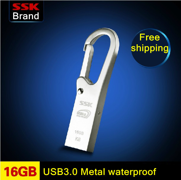 SSK K6 USB3.0 100% 16GB USB flash drive waterproof high speed metal usb flash drive usb flash drive 100% 16G Free shipping<br><br>Aliexpress