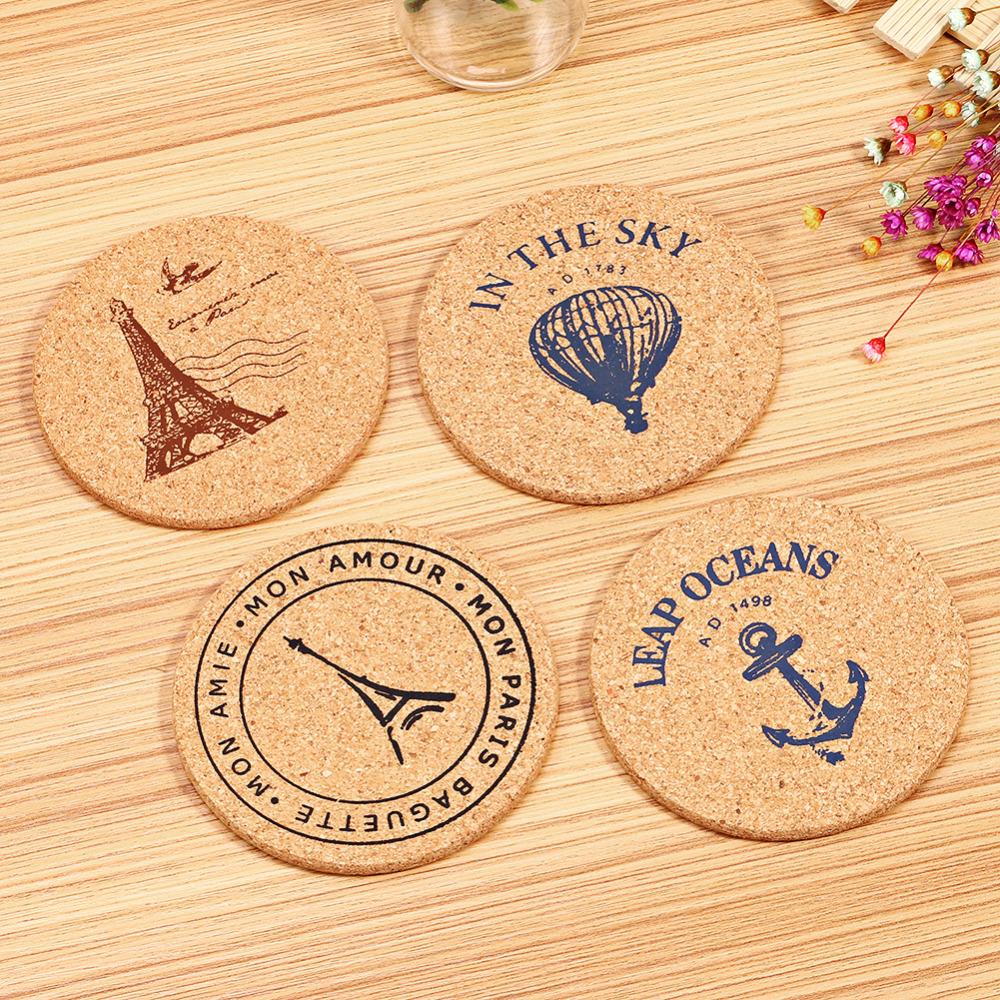 4 pcs/Set Retro Style Cork Drink Coaster Coffee Cup Mat Tea Pad Table Decor(China (Mainland))