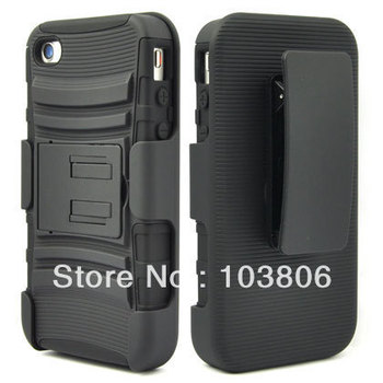 BLACK 3 IN 1 RUGGED COMBO CASE & BELT CLIP HOLSTER KICKSTAND for APPLE for  IPHONE 4 4S 4gs