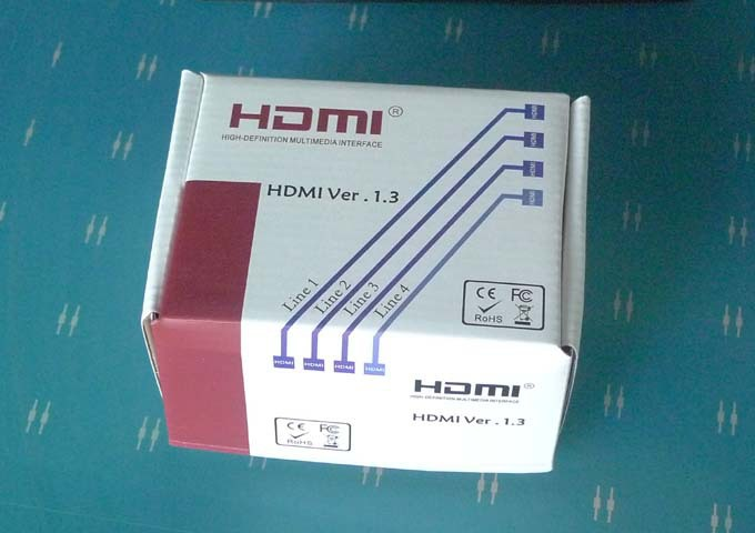 2PCS/LOT HDMI VER1.3 splitter distributes 1 HDMI source to 2 HDMI displays offers HD video solution Free shipping(China (Mainland))