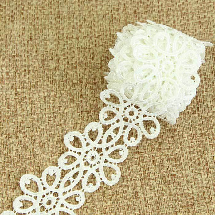 3 Yards Cotton Sewing Lace Trim Bridal Dress Embroidered White Ribbon lace S10919(China (Mainland))