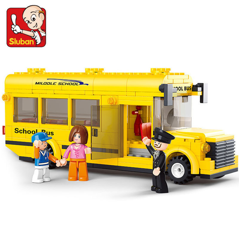 Building Block Set Compatible with lego Mini school bus traffic 3D Construction Brick Educational Hobbies Toys for Kids(China (Mainland))