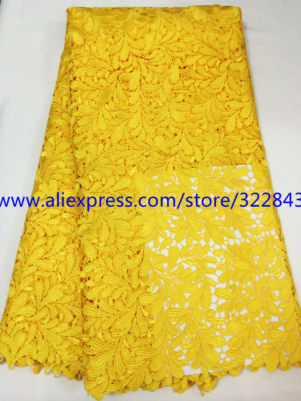 shipping by DHL(5yards/lot)yellow African lace fabric guipure sewing material high quality fabric for women wedding or party(China (Mainland))