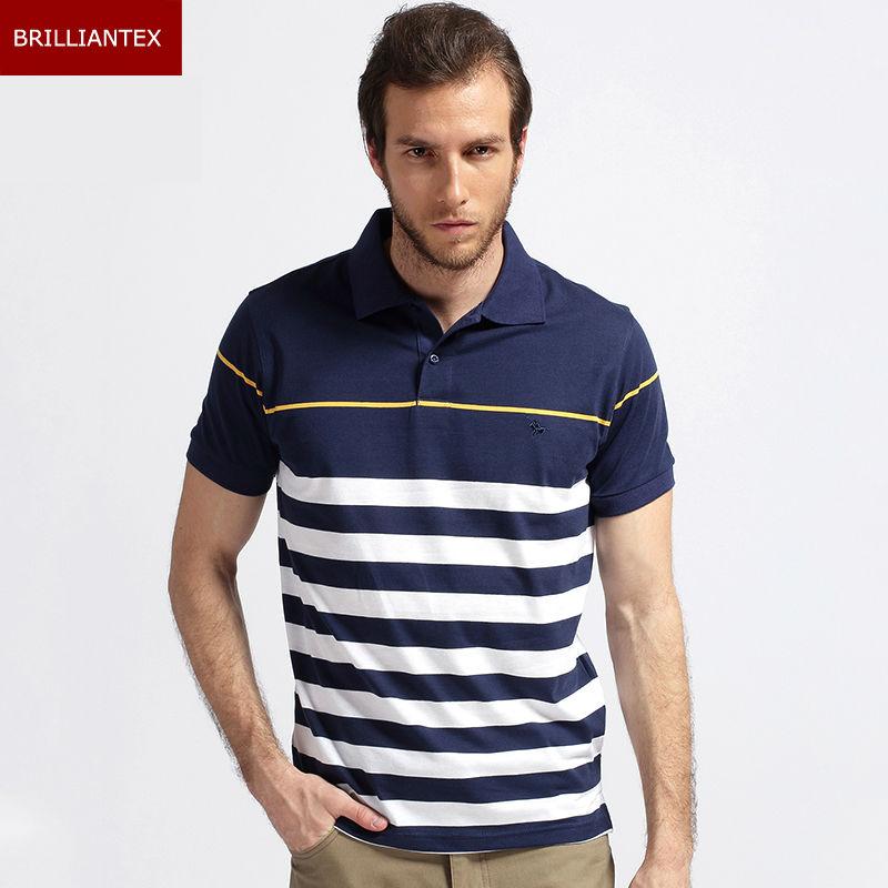 Custom made stripe polo shirt embroidered logo high for Custom tailored polo shirts