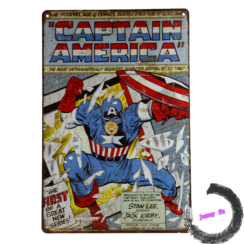 "Super Hero ""Captain America""  Vtg Retro Comic Book Cover Tin/Metal SIGN Superhero Decor Art Poster C3 1-in Wall Stickers from Home & Garden on Aliexpress.com 