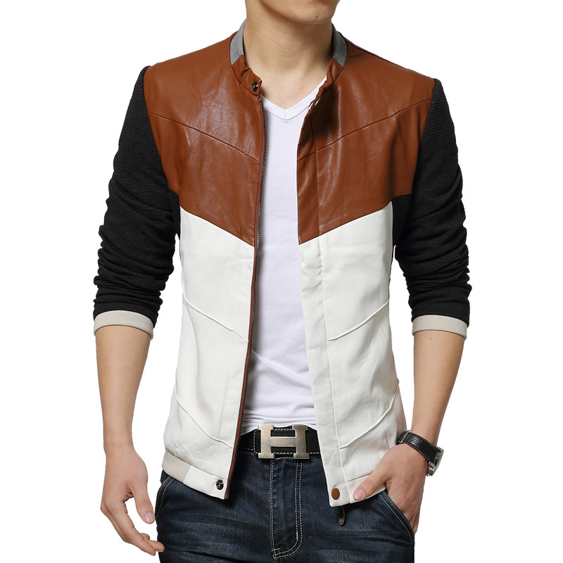 2015 spring and autumn new Korean fashion Slim men's leather jacket personality stitching men's long-sleeved coat popular(China (Mainland))