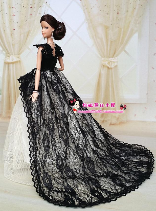 black wedding dress bag shoes for barbie