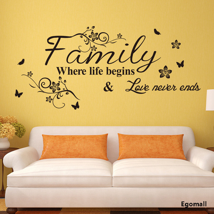 Family Fashion Creativity Wall Stickers Home Decor DIY Removable Art Vinyl Wall Sticker Decals Mural Home decoration75*34CM A833(China (Mainland))