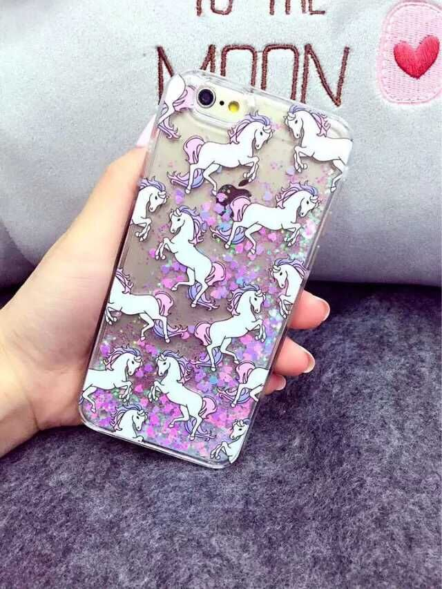"""Cartoon Unicorn Horse Dynamic Paillette Glitter Stars Water Liquid case for iPhone 5G 5S/6 6s 4.7""""/6 plus 5.5"""" plastic Covers(China (Mainland))"""