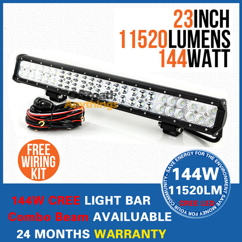 23 Inch 144W Cree Light LED Work Bar 11520LM Combo Beam Offroad Lamp-ATV Truck Boat 9-32V - 4x4 Auto Lamp Store store