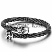 "Fashion Cool Mens Skull Bangle Bracelet Stainless Steel Twisted Cable Cuff Bracelet Black Elastic Adjustable 9.8"" pulsera hombre(China (Mainland))"
