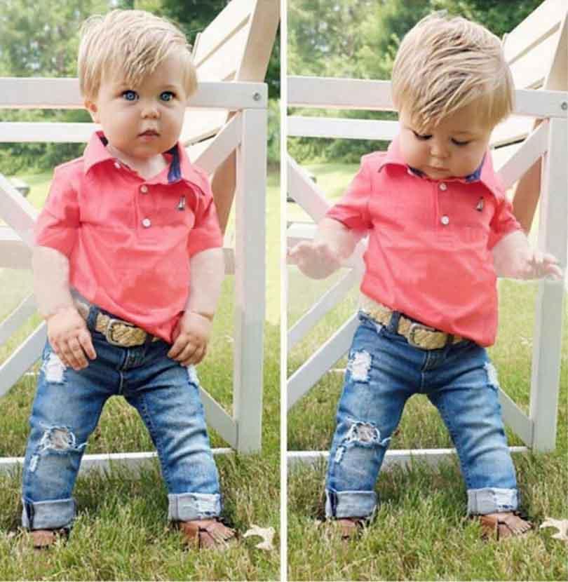 Children's clothing short sleeve polo shirt + jeans 2 pcs set fashion kids baby boy spring and autumn clothes set(China (Mainland))