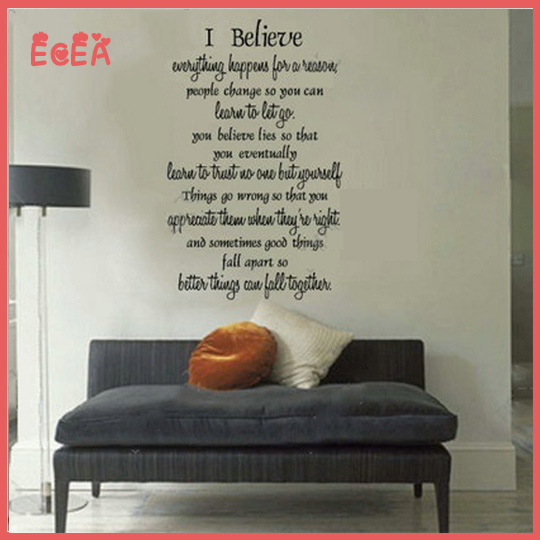 I believe inspirational wall decals quotes creative home for Decoration quotes